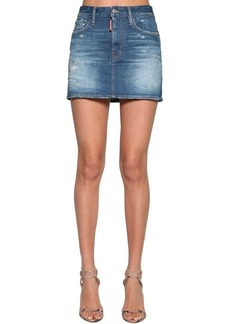 Dsquared2 Cotton Denim Mini Skirt