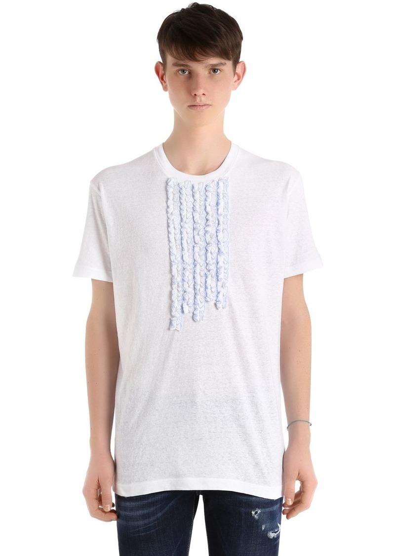 Dsquared2 Cotton Jersey T-shirt W/ Ruffled Details