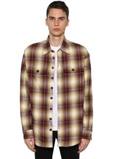 Dsquared2 Cotton Shirt Jacket W/ Faux Shearling