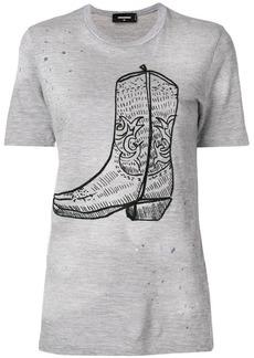 Dsquared2 cowboy boot print T-shirt