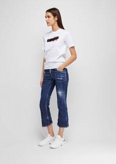 Dsquared2 Crop Stretch Cotton Denim Jeans