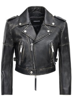 Dsquared2 Crop Vintage Effect Leather Biker Jacket