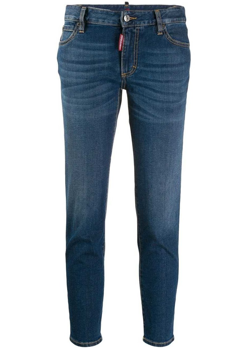 Dsquared2 cropped logo rise jeans