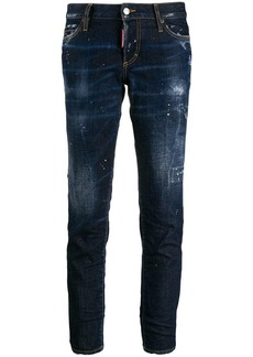 Dsquared2 cropped paint splattered jeans