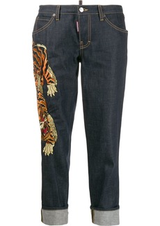Dsquared2 cropped tiger embroidered jeans