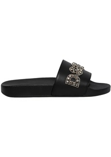 Dsquared2 Crystal Logo Leather Slide Sandals