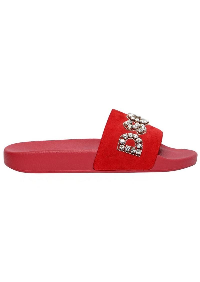 Dsquared2 Crystal Logo Suede Slide Sandals