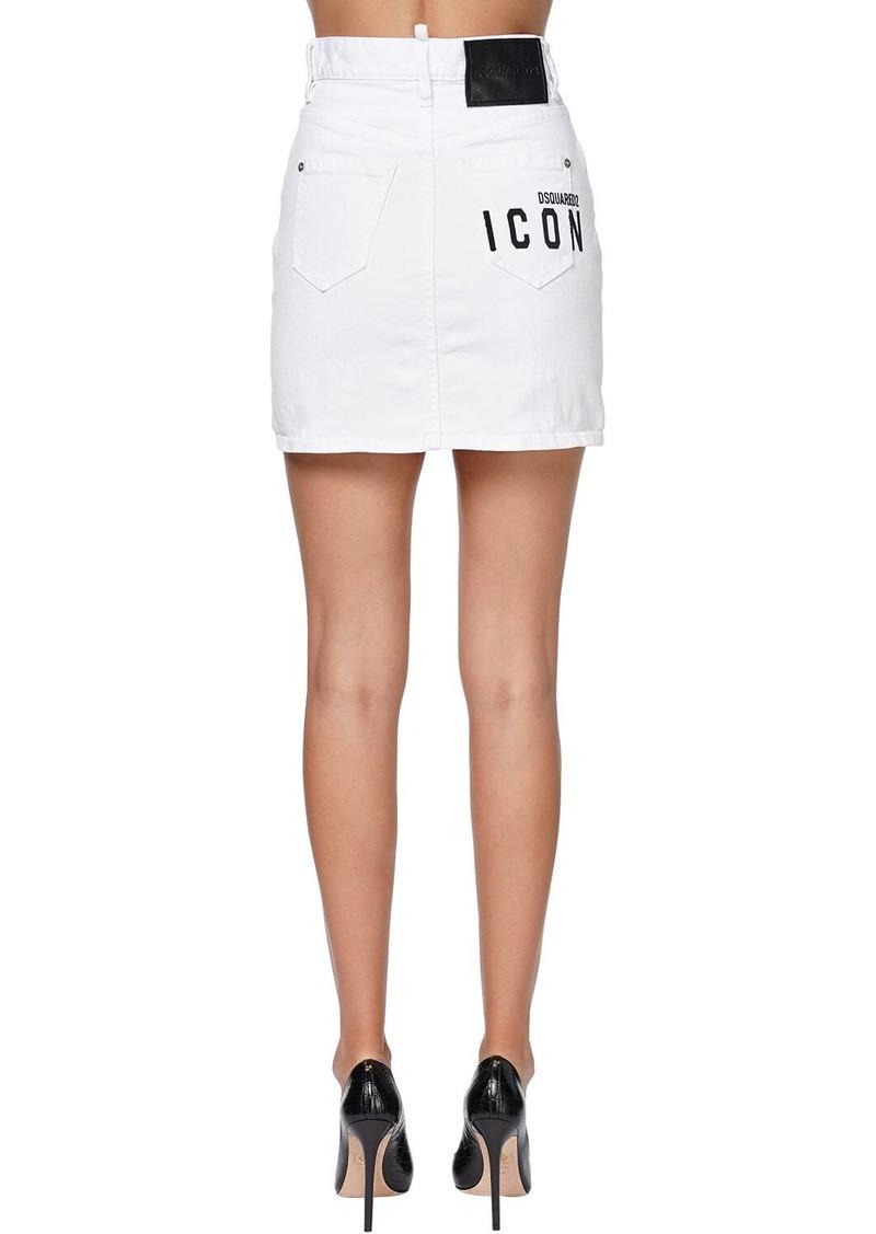 Dsquared2 Dalma High Waisted Denim Mini Skirt
