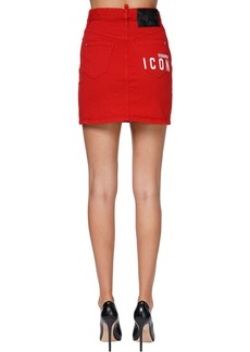 Dsquared2 Dalma High Waisted Denim Mini Skirt
