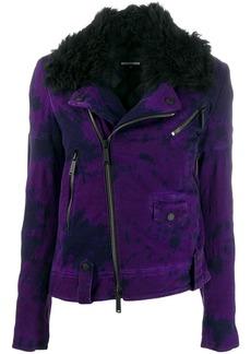 Dsquared2 denim biker jacket with fur-collar