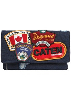 Dsquared2 Denim Fold Over Clutch W/ Patches