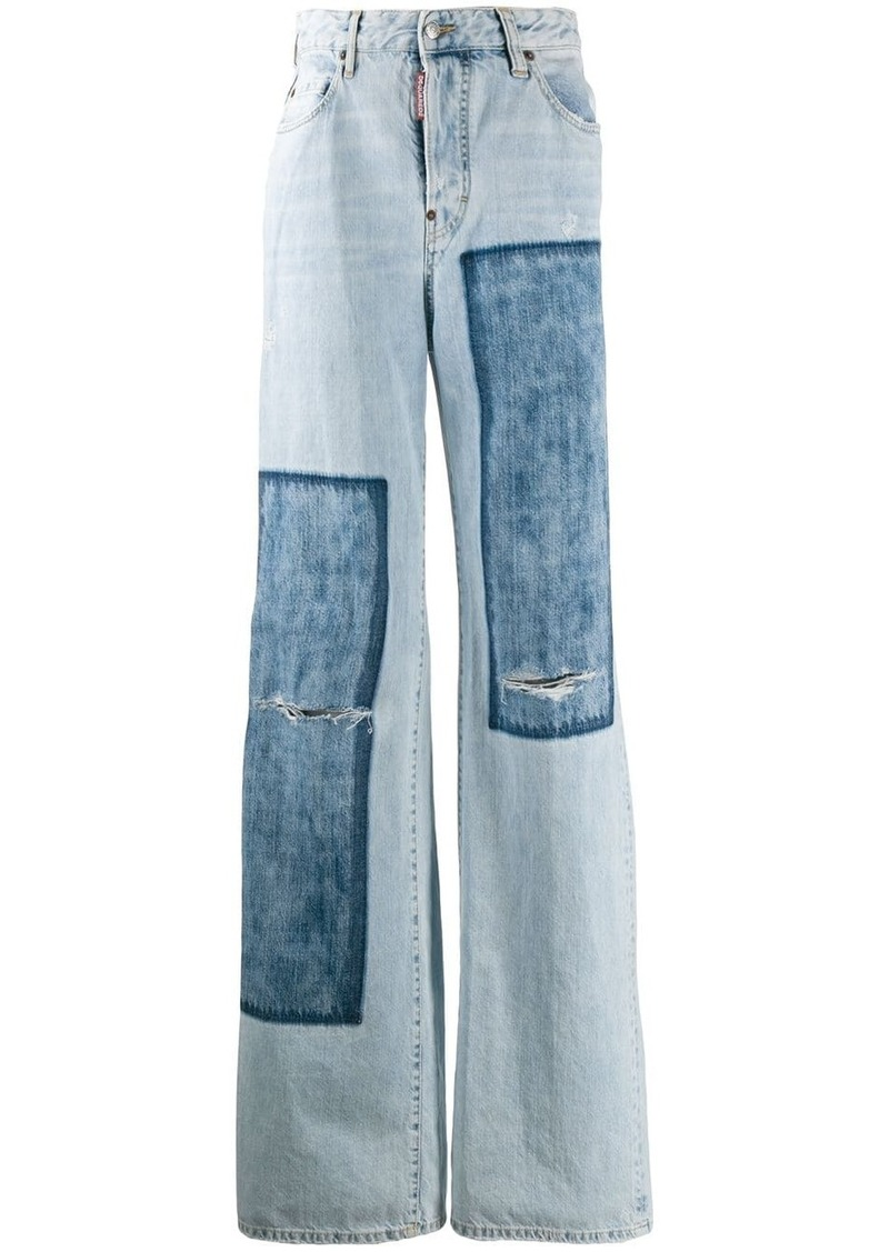 Dsquared2 denim patches wide leg jeans