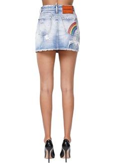 Dsquared2 Destroyed Denim Mini Skirt W/rainbow