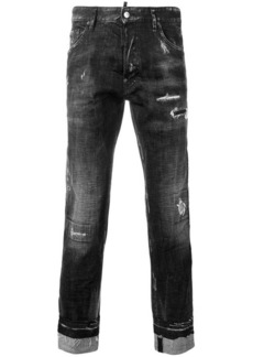 Dsquared2 distressed logo stripe jeans