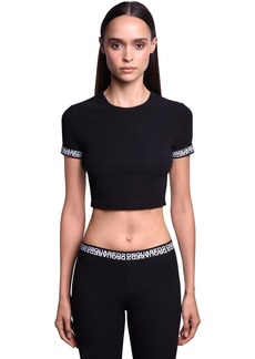 Dsquared2 Double Logo Cotton Jersey Crop Top