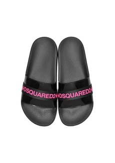 Dsquared2 Black And Neon Pink Tape Womens Flip Flop Pool Sandals