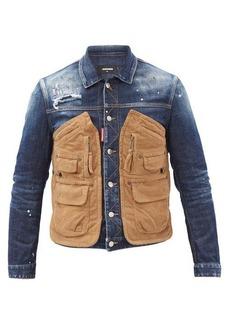 Dsquared2 Corduroy pocket-panel distressed denim jacket