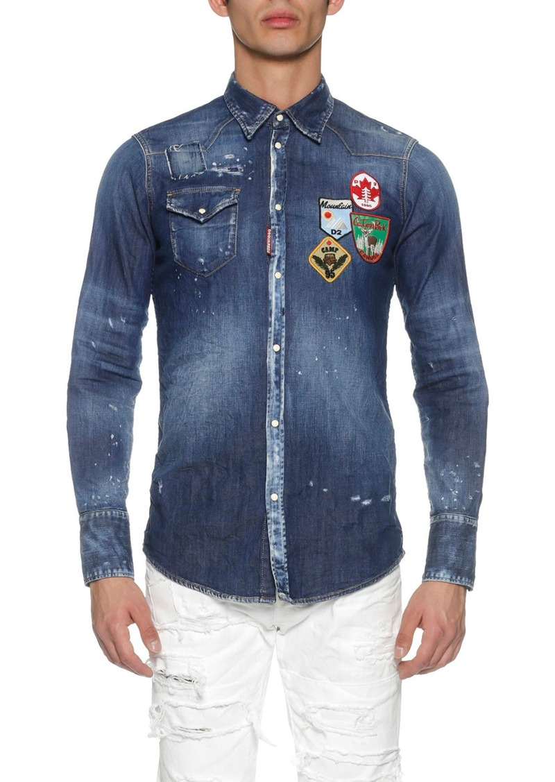 ea8ff6fea10 SALE! Dsquared2 Dsquared2 Denim Western Shirt with Patches