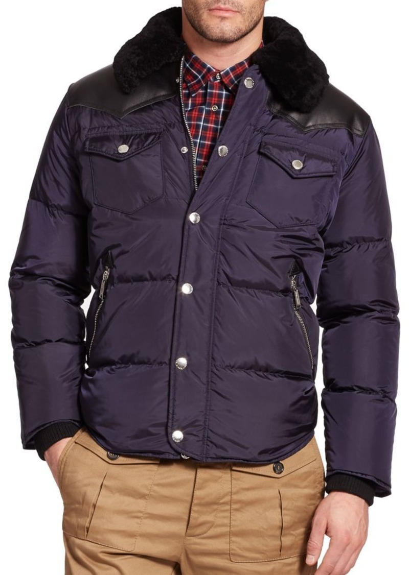 105ac658f6 Shearling-Trimmed Quilted Puffer Jacket