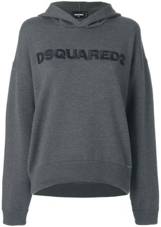 Dsquared2 logo embroidered knitted hoodie - Grey