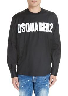 Dsquared2 Logo Print Poplin Long Sleeve Shirt