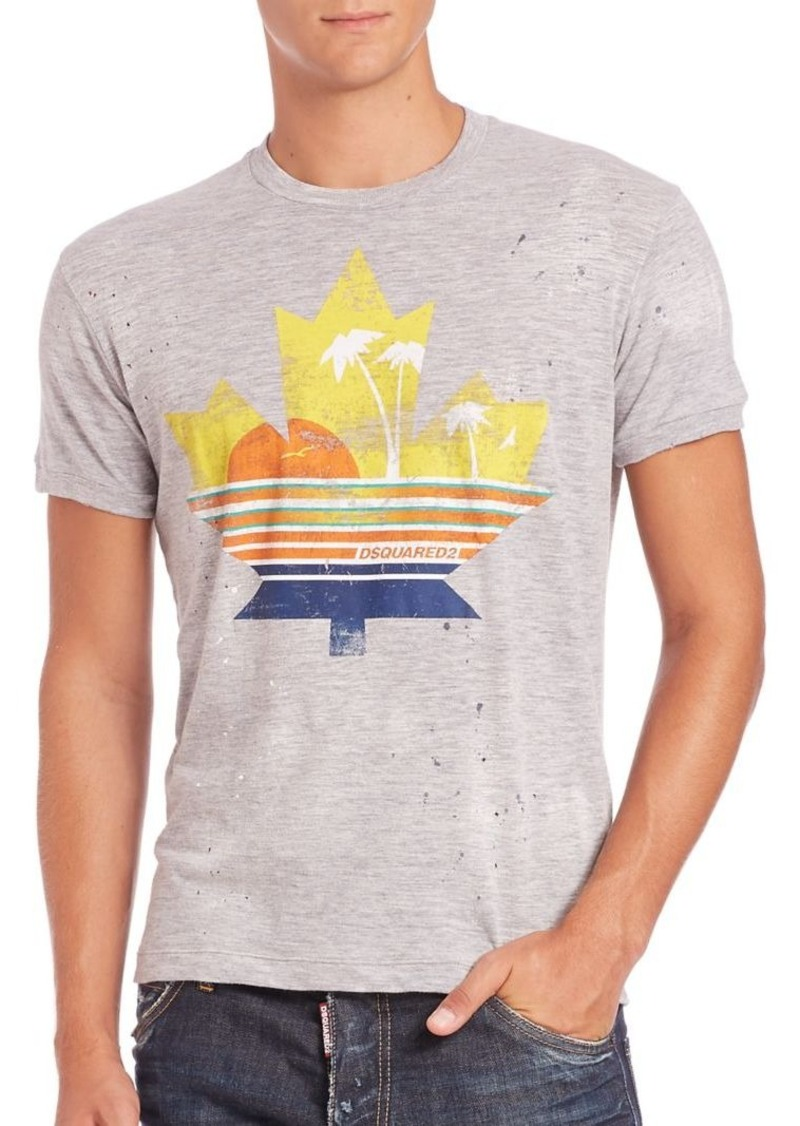 DSQUARED2 Maple Leaf Sunset Graphic Tee