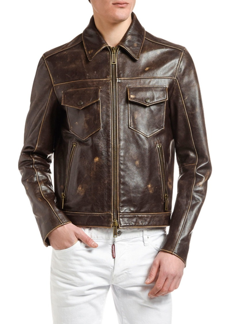 Dsquared2 Men's Distressed Leather Jacket