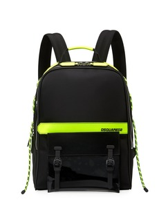 Dsquared2 Men's Multi-Zip Canvas Backpack w/ Leather Trim