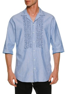 Dsquared2 Oxford Relaxed Shirt w/ Ruffled Bib