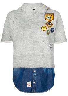 Dsquared2 patch short sleeve hoodie with faux denim layer - Grey