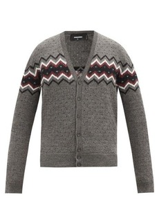 Dsquared2 Polka-dot zigzag-jacquard wool and alpaca cardigan