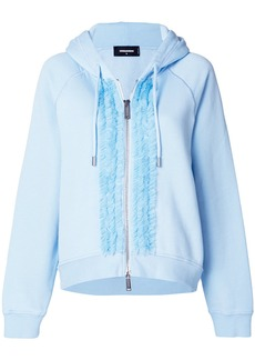 Dsquared2 ruffle trim zipped hoodie - Blue