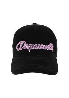 Dsquared2 Embellished Techno Velvet Baseball Hat