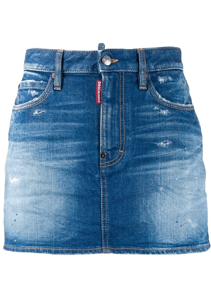 Dsquared2 faded distressed denim skirt