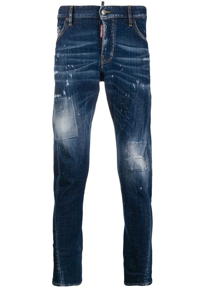 Dsquared2 faded skater jeans with bleach patches