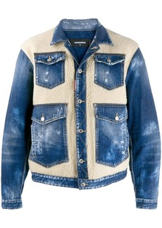 Dsquared2 faux shearling panels denim jacket