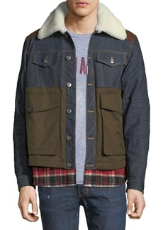 Dsquared2 Flannel-Trim Denim Jacket