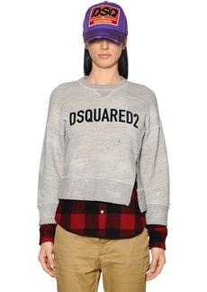 Dsquared2 Flocked Logo Cotton Jersey Sweatshirt