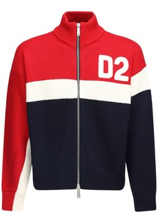 Dsquared2 Flocked Logo Zip-up Wool Knit Sweater