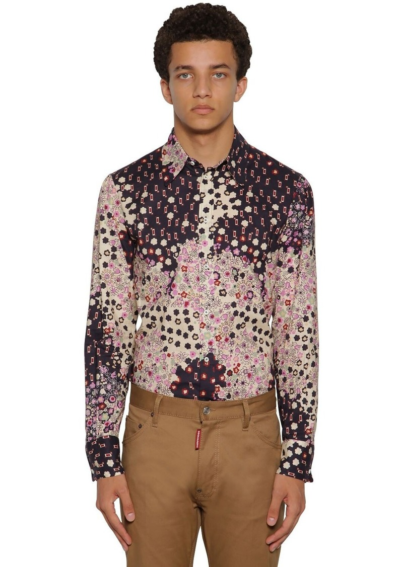 Dsquared2 Flower Printed Fever Fit Cotton Shirt
