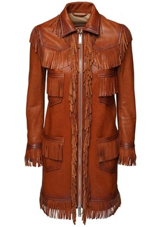 Dsquared2 Fringed Leather Coat