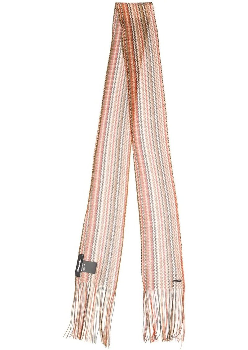 Dsquared2 fringed skinny scarf