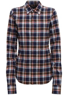 Dsquared2 Gradient Check Cotton Flannel Shirt