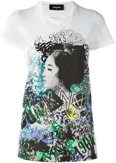 Dsquared2 graffiti geisha print T-shirt