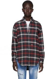 Dsquared2 Grey & Red Flannel Saddle Shoulder Shirt