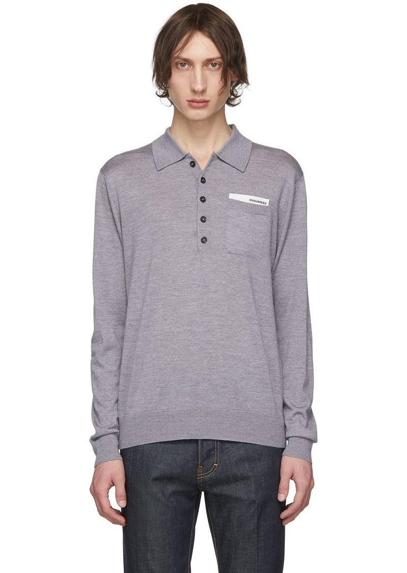 Dsquared2 Grey Pocket Long Sleeve Polo