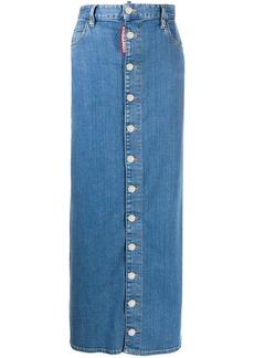 Dsquared2 high-rise button-down maxi denim skirt