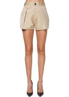 Dsquared2 High Waist Cotton Poplin Shorts