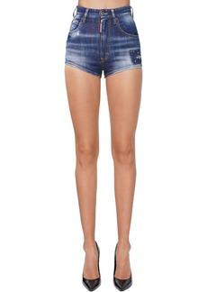 Dsquared2 High Waist Denim Micro Shorts