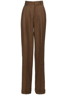 Dsquared2 High Waist Wool Tweed Wide Leg Pants
